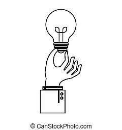 hand with bulb light education icon