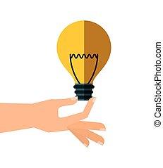 hand with bulb light