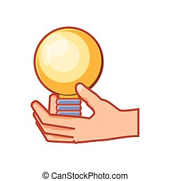 hand with bulb light isolated icon