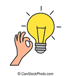 hand with bulb light
