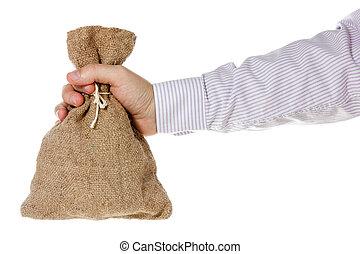 Hand with burlap sack