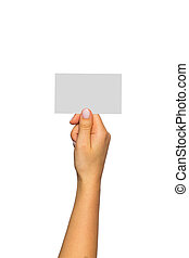 hand with card on a white background