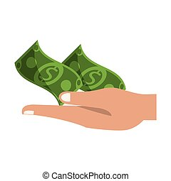 Hand with cash cartoon isolated