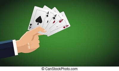 Hand with casino cards HD animation