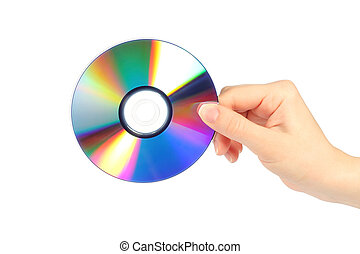 Hand with cd disc on white background