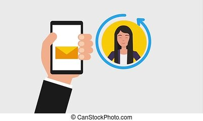 hand with cellphone email people animation hd