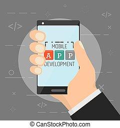 hand with cellphone mobile app development vector illustration