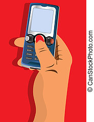 Hand with cellphone - Vector illustration of a hand holding...
