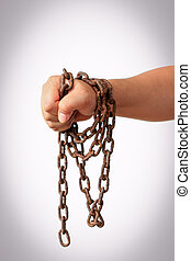 hand with chain - Man's hands tied with chains isolated on ...