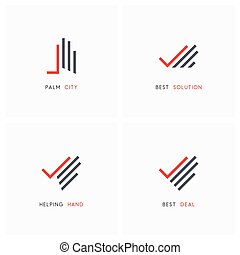 Hand with check mark - business logo set