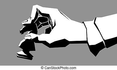 Hand with chess piece. - Simple vector black and white...