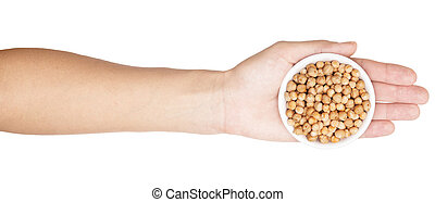 hand with chick pea isolated on white background