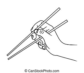 Hand with chopsticks vector illustration