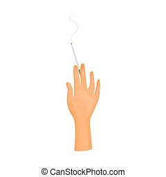 Hand with cigarette on white background. Vector illustration.