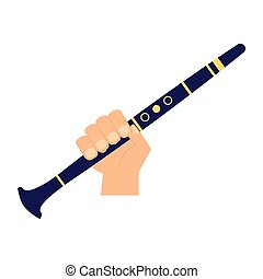 hand with clarinet on white background