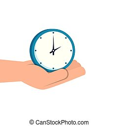 hand with clock wall time isolated icon