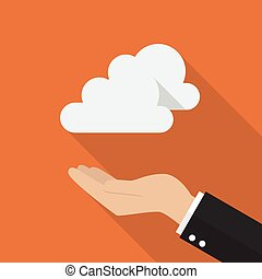 Hand with cloud computing concept