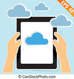 Hand with cloud computing - Vector illustration - EPS10