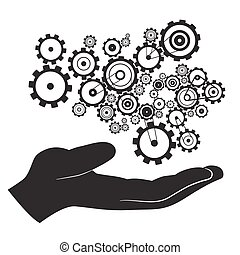 Hand with Cogs - Gears Vector
