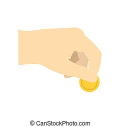 Hand with coin flat icon