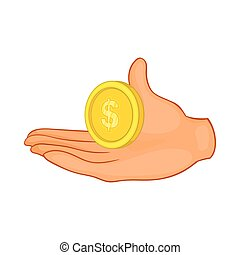 Hand with coin icon, cartoon style