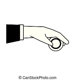 Hand with coin isolated cartoon black and white
