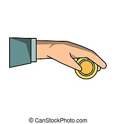 Hand with coin isolated cartoon
