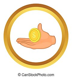 Hand with coin vector icon
