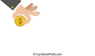 Hand with coins - Coins with cois, payment hd animation