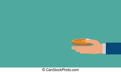 Hand with coins HD animation - Coins falling to hand...