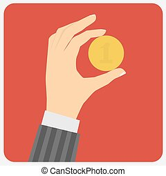 Hand with coins. Vector illustration.