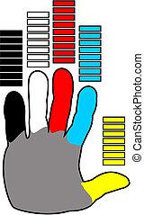 hand with colored fingers