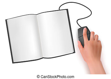 Hand with computer mouse and book  Vector illustration