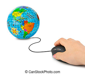 Hand with computer mouse and globe