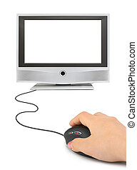 Hand with computer mouse and monitor
