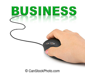Hand with computer mouse and word Business