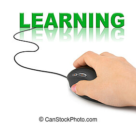 Hand with computer mouse and word Learning