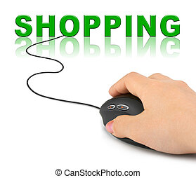 Hand with computer mouse and word Shopping