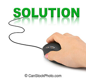 Hand with computer mouse and word Solution
