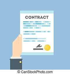 Hand with contract.