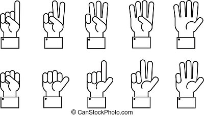 Hand with counting fingers vector line symbols