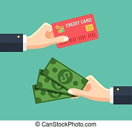 Hand with credit card and hand with cash. Vector flat...