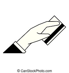 Hand with credit card cartoon black and white