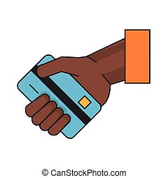 Hand with credit card cartoon isolated