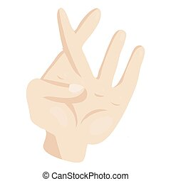 Hand with crossed fingers icon, cartoon style