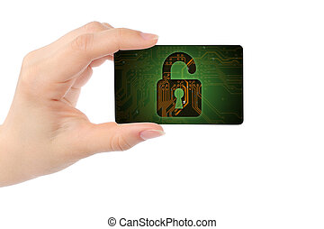 Hand with digital card and open lock