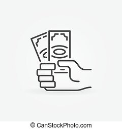 Hand with dollar banknotes icon