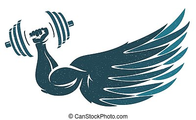 Hand with dumbbells and wing