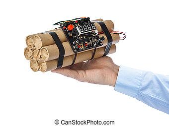 Hand with dynamite stick