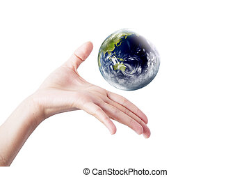 Hand with earth globe isolated on white background